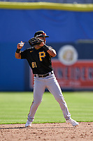Pittsburgh Pirates second baseman Nick Gonzales (81) throws to first base during a Major League Spring Training game against the Toronto Blue Jays on March 1, 2021 at TD Ballpark in Dunedin, Florida.  (Mike Janes/Four Seam Images)