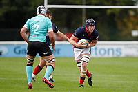 Luke Frost of London Scottish during the Championship Cup match between London Scottish Football Club and Nottingham Rugby at Richmond Athletic Ground, Richmond, United Kingdom on 28 September 2019. Photo by Carlton Myrie / PRiME Media Images