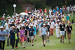 The crowd during Hong Kong Open golf tournament at the Fanling golf course on 22 October 2015 in Hong Kong, China. Photo by Xaume Olleros / Power Sport Images