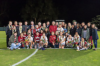 STANFORD, CA - October 21, 2012: Seniors and their families during the Senior Day celebration after the Stanford vs Washington women's soccer match in Stanford, California.  Stanford won 3-0.