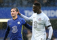 Chelsea's Ben Chilwell and goalkeeper, Edouard Mendy  at the final whistle during Chelsea vs Southampton, Premier League Football at Stamford Bridge on 2nd October 2021