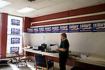 May 6, 2008. Durham, NC.. With the close North Carolina primary battle between Senators Hillary Clinton and Barack Obama, voters hit the polls to try and bring closure to this highly contested state and divide the delegates between the 2 candidates.. Kathryn Brown, a staff member for Hillary Clinton's campaign in North Carolina, handles the phones at the headquarters.