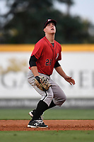 First baseman Gavin Sheets (23) of the Kannapolis Intimidators plays defense in a game against the Greenville Drive on Wednesday, July 12, 2017, at Fluor Field at the West End in Greenville, South Carolina. Greenville won, 12-2. (Tom Priddy/Four Seam Images)