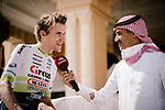 Yoann Offredo (FRA) Circus-Wanty Gobert interviewed before the start of Stage 5 of the Saudi Tour 2020 running 144km from Princess Nourah University to Al Masmak, Saudi Arabia. 8th February 2020. <br /> Picture: ASO/Pauline Ballet | Cyclefile<br /> All photos usage must carry mandatory copyright credit (© Cyclefile | ASO/Pauline Ballet)