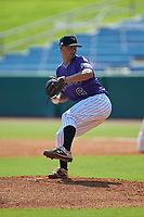 Niko Mazza (6) of Madison-Ridgeland Academy in Madison, MS playing for the Colorado Rockies scout team during the East Coast Pro Showcase at the Hoover Met Complex on August 4, 2020 in Hoover, AL. (Brian Westerholt/Four Seam Images)