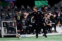 ATLANTA, GA - APRIL 24: Atlanta United coach Gabriel Heinze greets #8 Ezequiel Barco during a game between Chicago Fire FC and Atlanta United FC at Mercedes-Benz Stadium on April 24, 2021 in Atlanta, Georgia.