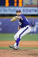 High Point Panthers relief pitcher Muhammed Eid (23) in action against the NJIT Highlanders during game two of a double-header at Williard Stadium on February 18, 2017 in High Point, North Carolina.  The Highlanders defeated the Panthers 4-2.  (Brian Westerholt/Four Seam Images)