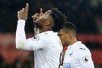 Leroy Fer of Swansea City points to the sky following the final whistle of the match the Premier League match between Swansea City and Leicester City at The Liberty Stadium, Swansea, Wales, UK. Sunday 12 February 2017