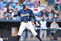 Asheville Tourists shortstop Ryan Vilade (4) awaits a pitch during a game against the Columbia Fireflies at McCormick Field on April 12, 2018 in Asheville, North Carolina. The Fireflies defeated the Tourists 7-5. (Tony Farlow/Four Seam Images)