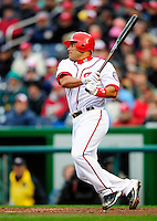 31 March 2011: Washington Nationals catcher Ivan Rodriguez at bat during Opening Day action against the Atlanta Braves at Nationals Park in Washington, District of Columbia. The Braves shut out the Nationals 2-0 to start off the 2011 Major League Baseball season. Mandatory Credit: Ed Wolfstein Photo