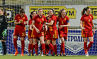 20180307 - LARNACA , CYPRUS : Spanish team pictured celebrating their lead during a women's soccer game between Italy and Spain , on wednesday 7 March 2018 at the AEK Arena in Larnaca , Cyprus . This is the final game for the first place  for  Italy and  Spain on the Cyprus Womens Cup , a prestigious women soccer tournament as a preparation on the World Cup 2019 qualification duels. PHOTO SPORTPIX.BE | DAVID CATRY