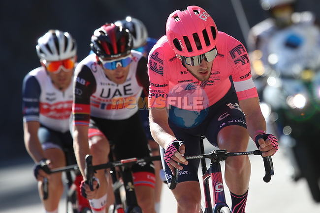 Jonas Rutsch (GER) EF Education-Nippo, Sven Erik Bystrøm ((NOR) UAE Team Emirates, Edward Theuns (BEL) Trek-Segafredo and Tim Declercq (BEL) Deceuninck-QuickStep attack during Stage 8 of Paris-Nice 2021, running 92.7km from Le Plan-du-Var to Levens, France. 14th March 2021.<br /> Picture: ASO/Fabien Boukla | Cyclefile<br /> <br /> All photos usage must carry mandatory copyright credit (© Cyclefile | ASO/Fabien Boukla)