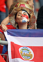 Costa Rica fan celebrates before the game. Ecuador defeated Costa Rica 3-0 in their FIFA World Cup Group A match at FIFA World Cup Stadium, Hamburg, Germany, June 15, 2006.
