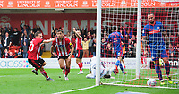 Lincoln City's Tyler Walker celebrates scoring his side's second goal with team-mate Jack Payne, left<br /> <br /> Photographer Chris Vaughan/CameraSport<br /> <br /> The EFL Sky Bet League One - Lincoln City v Sunderland - Saturday 5th October 2019 - Sincil Bank - Lincoln<br /> <br /> World Copyright © 2019 CameraSport. All rights reserved. 43 Linden Ave. Countesthorpe. Leicester. England. LE8 5PG - Tel: +44 (0) 116 277 4147 - admin@camerasport.com - www.camerasport.com
