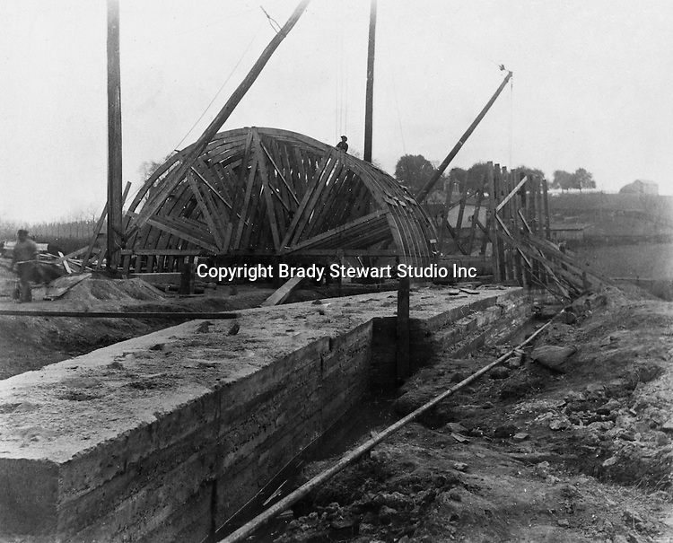 Hopedale OH:  Construction of a concrete arch for the Spellacy Tunnel.  The Pittsburgh, Toledo, and Western Railroad Company, owned by the famous George J. Gould,  hired Brady Stewart to document the track and tunnel construction between Hopedale Ohio, and downtown Pittsburgh.