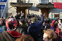 Many protesters including the iconic ANARCHOPANDA take part in a protest against P-6 municipal bylaw restricting the right to march in demonstrations with a mask or without notify the police of the  itinerary, on<br /> April 22, 2013<br /> <br /> File Photo : Agence Quebec Presse