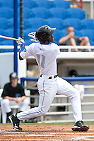 Adeiny Hechavarria (11) of the Dunedin Blue Jays during a game vs. the Bradenton Marauders May 16 2010 at Dunedin Stadium in Dunedin, Florida. Bradenton won the game against Dunedin by the score of 3-2.  Photo By Scott Jontes/Four Seam Images