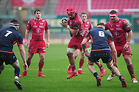 Josh Macleod of Scarlets in action during the Guinness Pro14 Round 11 match between the Scarlets and Edinburgh Rugby at the Parc Y Scarlets in Llanelli, Wales, UK. Saturday 15 February 2020