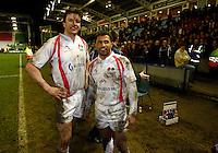 Photo: Richard Lane/Richard Lane Photography. England Legends v Ireland Legends. The Stuart Mangan Memorial Cup. 26/02/2010. England's Martin Corry and Jason Robinson.