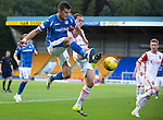 St Johnstone v Ross County...11.08.15...SPFL..McDiarmid Park, Perth.<br /> Graham Cummins and Jackson Irvine<br /> Picture by Graeme Hart.<br /> Copyright Perthshire Picture Agency<br /> Tel: 01738 623350  Mobile: 07990 594431