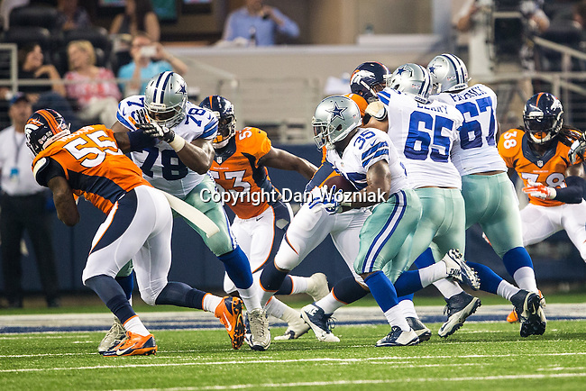 Dallas Cowboys defensive back Tyler Patmon (35) and Dallas Cowboys tackle Jermey Parnell (78) in action during the pre-season game between the Denver Broncos and the Dallas Cowboys at the AT & T stadium in Arlington, Texas. Denver leads Dallas 10 to 3 at halftime.