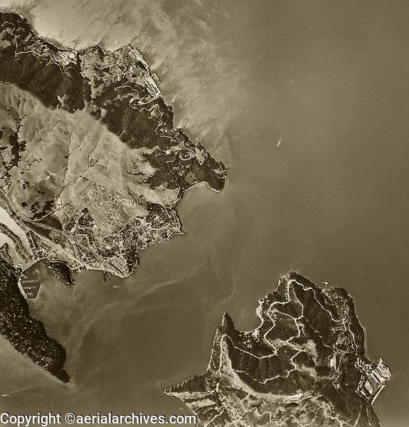 historical aerial photograph of the Raccoon Straight, Tiburon and Angel Island, Marin County, California, 1958