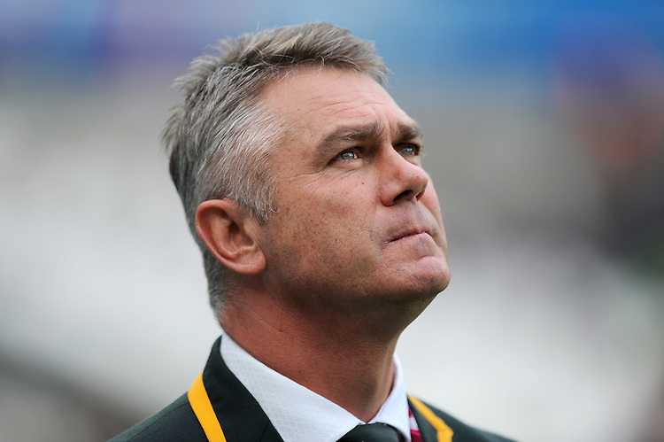 07 October 2015: Heyneke Meyer, South Africa coach,<br /> during Match 31 of the Rugby World Cup 2015 between South Africa and USA - Queen Elizabeth Olympic Park, London, England (Photo by Rob Munro/CSM)