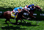 May 3, 2014: Coffee Clique (top), ridden by Javier Castellano and Dame Marie, ridden by Irad Ortiz, Jr. in the home stretch of the Churchill Distaff Turf Mile S. (Grade II) stakes on Kentucky Derby Day at Churchill Downs in Louisville, KY. Jon Durr/ESW/CSM