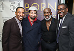 """Charles Randolph-Wright, Lin-Manuel Miranda, BeBe Winans and Ron Gillyard backstage after a Song preview performance of the Bebe Winans Broadway Bound Musical """"Born For This"""" at Feinstein's 54 Below on November 5, 2018 in New York City."""