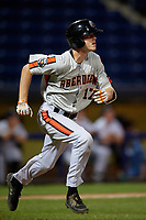 Aberdeen Ironbirds Mason Janvrin (17) runs to first base during a NY-Penn League game against the Staten Island Yankees on August 22, 2019 at Richmond County Bank Ballpark in Staten Island, New York.  Aberdeen defeated Staten Island 4-1 in a rain shortened game.  (Mike Janes/Four Seam Images)