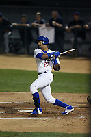 Christian Santana (27) of the Rancho Cucamonga Quakes bats against the Lancaster JetHawks at LoanMart Field on September 9, 2017 in Rancho Cucamonga, California. Lancaster defeated Rancho Cucamonga, 12-7. (Larry Goren/Four Seam Images)