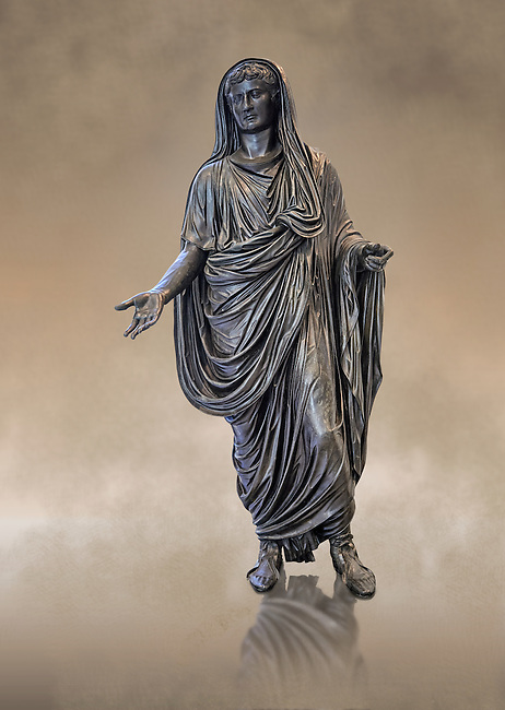 Full length frontal view of Roman bronze staue of Augustus Ceasar as Pontifex Maximus, late first century B.C, Naples National Archaeological Museum