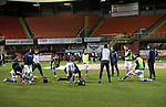 Dundee United v St Johnstone…12.01.21   Tannadice     SPFL<br />The saints players warm up before kick off<br />Picture by Graeme Hart.<br />Copyright Perthshire Picture Agency<br />Tel: 01738 623350  Mobile: 07990 594431