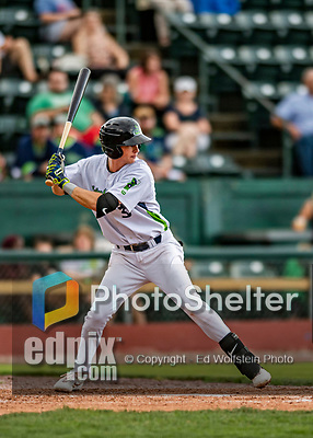 21 July 2019: Vermont Lake Monsters infielder Logan Davidson in action against the Tri-City ValleyCats at Centennial Field in Burlington, Vermont. The Lake Monsters rallied to defeat the ValleyCats 6-3 in NY Penn League play. Mandatory Credit: Ed Wolfstein Photo *** RAW (NEF) Image File Available ***
