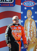Sept. 6, 2010; Clermont, IN, USA; NHRA top fuel dragster driver Cory McClenathan during driver introductions prior to the U.S. Nationals at O'Reilly Raceway Park at Indianapolis. Mandatory Credit: Mark J. Rebilas-