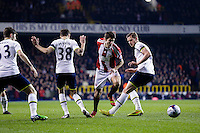 21.01.2015.  London, England. Capital One Cup Semi Final 1st Leg. Tottenham Hotspur versus Sheffield United.  Sheffield United's Ryan Flynn skips over the tackles of Tottenham's Ryan Mason (left) & Tottenham's Jan Vertonghen (right) ; Mason was made interim team manager for 2021 season after Spurs sacked Jose Mourinho. Mason retired from playing for Tottenham after suffering a fractured skull in a game in early 2017 at Hull.