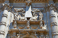 The inticate Baroque Facade and statues of the Chiesa di San Moise, dedicated to Moses, Venice Italy