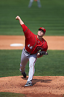 Harrisburg Senators pitcher Lucas Giolito (44) delivers a pitch during a game against the Erie Seawolves on August 30, 2015 at Jerry Uht Park in Erie, Pennsylvania.  Harrisburg defeated Erie 4-3.  (Mike Janes/Four Seam Images)
