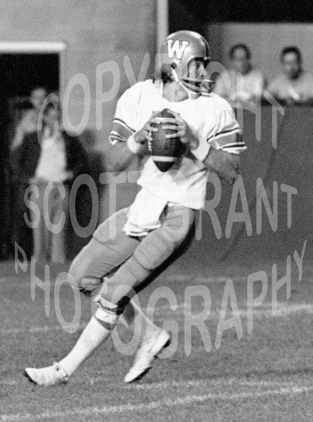 Ralph Dieter Brock Winnipeg Blue Bombers quarterback 1976. Copyright photograph Scott Grant/