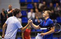 Rotterdam, Netherlands, December 18, 2015,  Topsport Centrum, Lotto NK Tennis, Robin Haase (L) is being congratuleted by Tallon Griekspoor (NED)<br /> Photo: Tennisimages/Henk Koster