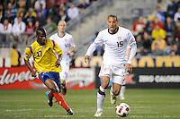 Jermaine Jones (15) of the United States (USA) is marked by Darwin Quintero (17) of Colombia (COL). The men's national teams of the United States (USA) and Colombia (COL) played to a 0-0 tie during an international friendly at PPL Park in Chester, PA, on October 12, 2010.