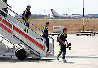 Wednesday 18 September 2013<br /> Pictured L-R: Players Michu, Pablo Hernandez and Angel Rangel disembark from the aeroplane upon their arrival to Valencia, Spain.<br /> Re: Swansea City FC players and staff travelling to Spain for their UEFA Europa League game against Valencia.