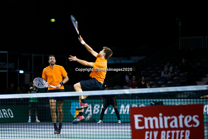 Rotterdam, The Netherlands, 12 Februari 2020, ABNAMRO World Tennis Tournament, Ahoy. Doubles: Sander Arends (NED) and David Pel (NED).<br /> Photo: www.tennisimages.com