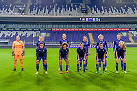 team picture RSC Anderlecht : goalkeeper Justine Odeurs (13) , forward Sarah Wijnants (11) , midfielder Tine De Caigny (6) , Tessa Wullaert (27) , midfielder Charlotte Tisson (20) , defender Laura De Neve (8) and forward Mariam Toloba (19) , midfielder Kassandra Missipo (12) , defender Laura Deloose (14) , midfielder Stefania Vatafu (10) , forward Jarne Teulings (16) pictured during a female soccer game between RSC Anderlecht Dames and Northern Irish Linfield Ladies  in the first qualifying round for the Uefa Womens Champions League of the 2020 - 2021 season , Wednesday 4 th of November 2020  in ANDERLECHT , Belgium . PHOTO SPORTPIX.BE | SPP | STIJN AUDOOREN