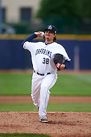 Lake County Captains pitcher Nick Pasquale (38) delivers a pitch during a game against the Fort Wayne TinCaps on May 20, 2015 at Classic Park in Eastlake, Ohio.  Lake County defeated Fort Wayne 4-3.  (Mike Janes/Four Seam Images)
