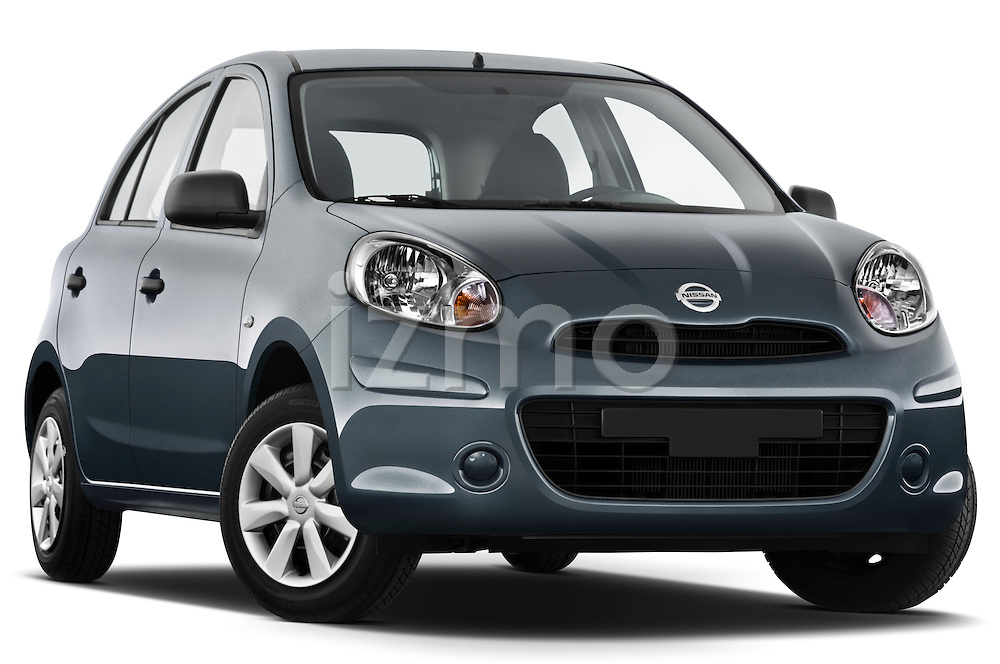 Low aggressive passenger side front three quarter view of a 2011 Nissan Micra Visia 5 Door Micro Car .