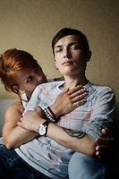 Girlfriends at their home on the city's outskirts. On 30 June 2013, Russian President Vladimir Putin signed into law an ambiguous bill banning the 'propaganda of nontraditional sexual relations to minors'. The law met with widespread condemnation from human rights and LGBT groups. (MANDATORY CREDIT   photo: Mads Nissen/Panos Pictures /Felix Features)