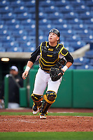 Alabama State Hornets catcher Hunter Allen (38) tracks a foul ball popup during a game against the Ball State Cardinals on February 18, 2017 at Spectrum Field in Clearwater, Florida.  Ball State defeated Alabama State 3-2.  (Mike Janes/Four Seam Images)