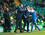 Celtic v St Johnstone…18.02.18…   Celtic Park    SPFL<br />Tommy Wright high fives Chris Millar as he is subbed<br />Picture by Graeme Hart. <br />Copyright Perthshire Picture Agency<br />Tel: 01738 623350  Mobile: 07990 594431