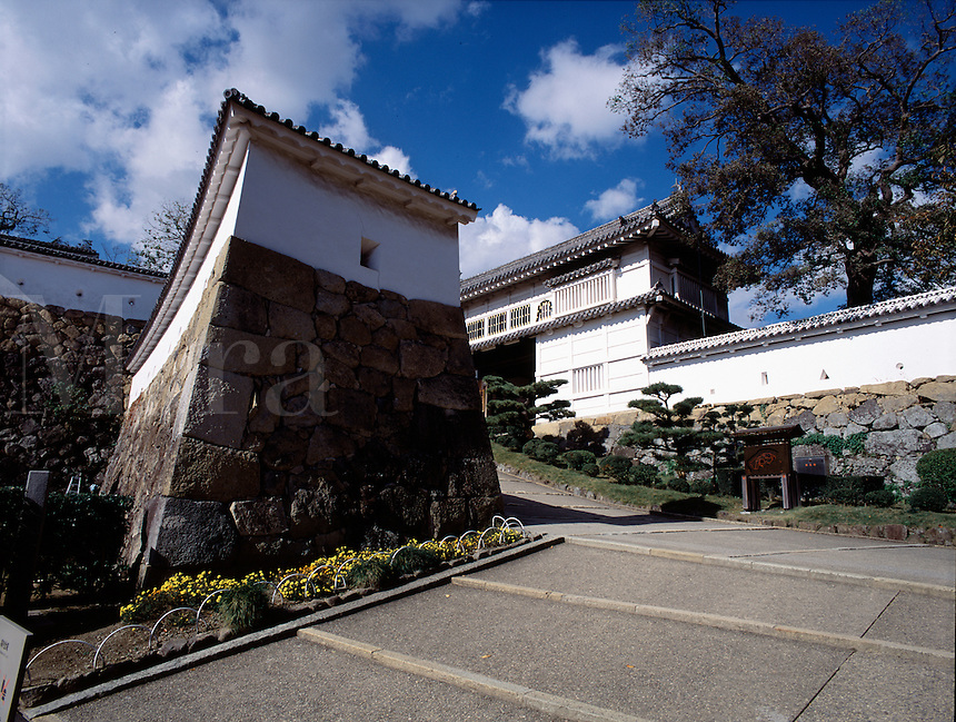 The main entrance to the medieval fortress of Himeji Castle, Himeji, Japa